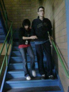 Image of Nicholas Morihovitis at rehab practicing on stairs