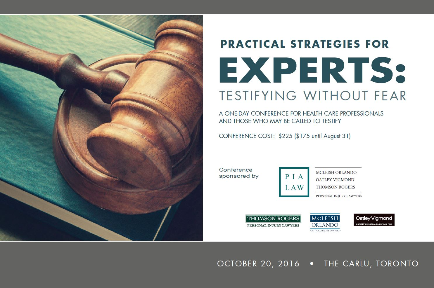 OCT 20, 2016 PIA Law Practical Strategies for Experts conference