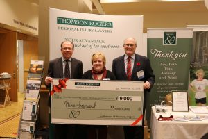 Thomson Rogers 80th Anniversary Charitable Giveaway - Leonard Kunka, Angela Burgess (West Park Healthcare Centre) and Alan Farrer