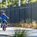 child riding a bike with helmet