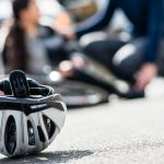 bicycle helmet on ground after an accident