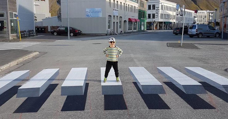 boy standing on 3d crosswalk