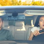 couple reacts to a car accident