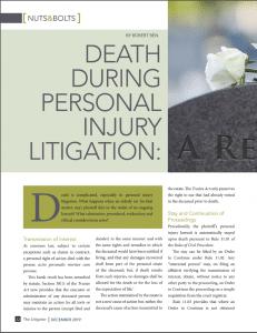 Death During Personal Injury Litigation Robert Ben